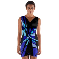 Blue Abstart Design Wrap Front Bodycon Dress