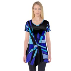Blue abstart design Short Sleeve Tunic