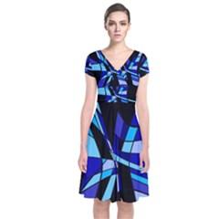 Blue Abstart Design Short Sleeve Front Wrap Dress
