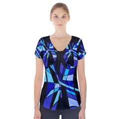 Blue abstart design Short Sleeve Front Detail Top
