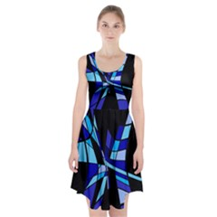 Blue abstart design Racerback Midi Dress