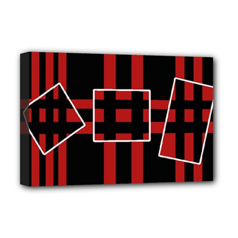 Red and black geometric pattern Deluxe Canvas 18  x 12
