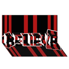 Red and black geometric pattern BELIEVE 3D Greeting Card (8x4)