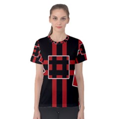 Red and black geometric pattern Women s Cotton Tee