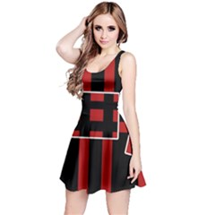 Red and black geometric pattern Reversible Sleeveless Dress