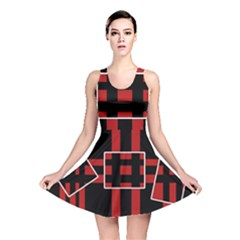 Red and black geometric pattern Reversible Skater Dress