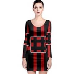 Red and black geometric pattern Long Sleeve Bodycon Dress