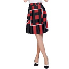 Red and black geometric pattern A-Line Skirt