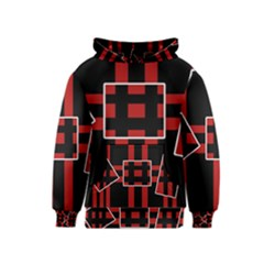 Red and black geometric pattern Kids  Pullover Hoodie