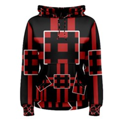 Red and black geometric pattern Women s Pullover Hoodie