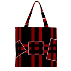 Red and black geometric pattern Zipper Grocery Tote Bag
