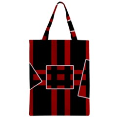 Red and black geometric pattern Zipper Classic Tote Bag