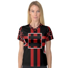 Red and black geometric pattern Women s V-Neck Sport Mesh Tee