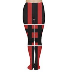 Red and black geometric pattern Women s Tights