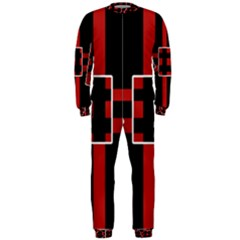 Red and black geometric pattern OnePiece Jumpsuit (Men)