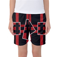 Red and black geometric pattern Women s Basketball Shorts
