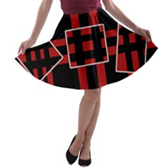 Red and black geometric pattern A-line Skater Skirt