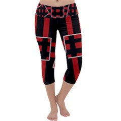 Red And Black Geometric Pattern Capri Yoga Leggings