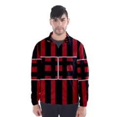 Red and black geometric pattern Wind Breaker (Men)