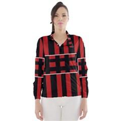 Red and black geometric pattern Wind Breaker (Women)