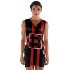 Red and black geometric pattern Wrap Front Bodycon Dress