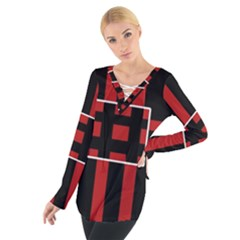 Red and black geometric pattern Women s Tie Up Tee