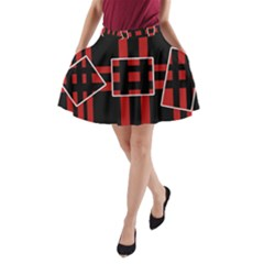 Red and black geometric pattern A-Line Pocket Skirt