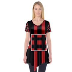 Red and black geometric pattern Short Sleeve Tunic