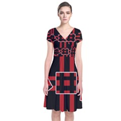 Red And Black Geometric Pattern Short Sleeve Front Wrap Dress