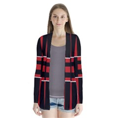 Red and black geometric pattern Drape Collar Cardigan
