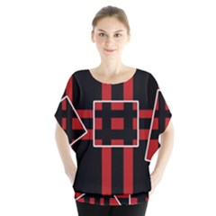 Red and black geometric pattern Blouse