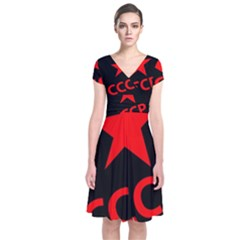 Russia Short Sleeve Front Wrap Dress