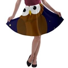 Cute owl A-line Skater Skirt
