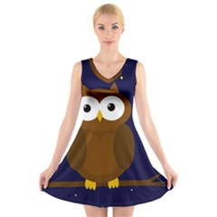 Cute owl V-Neck Sleeveless Skater Dress