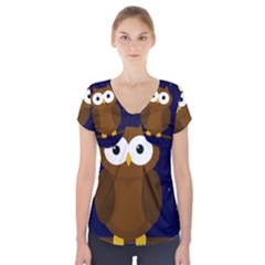 Cute Owl Short Sleeve Front Detail Top