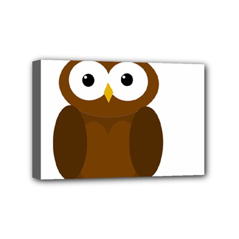 Cute transparent brown owl Mini Canvas 6  x 4