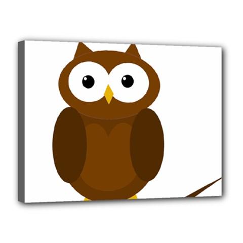 Cute transparent brown owl Canvas 16  x 12