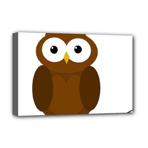 Cute transparent brown owl Deluxe Canvas 18  x 12