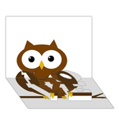 Cute transparent brown owl LOVE Bottom 3D Greeting Card (7x5)