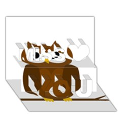 Cute transparent brown owl Miss You 3D Greeting Card (7x5)