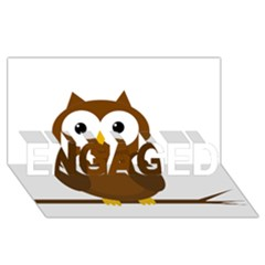 Cute transparent brown owl ENGAGED 3D Greeting Card (8x4)