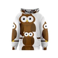 Cute transparent brown owl Kids  Pullover Hoodie