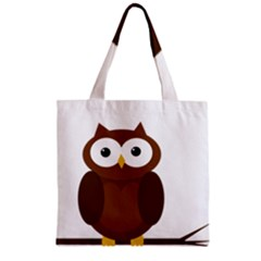 Cute transparent brown owl Zipper Grocery Tote Bag