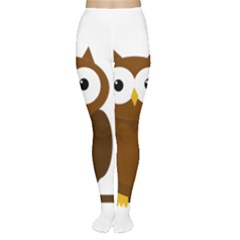 Cute transparent brown owl Women s Tights