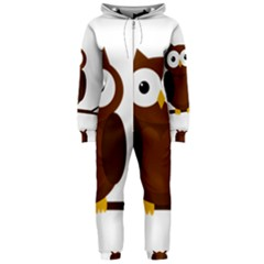 Cute transparent brown owl Hooded Jumpsuit (Ladies)