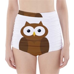 Cute transparent brown owl High-Waisted Bikini Bottoms