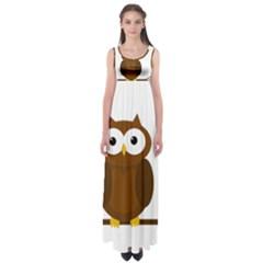 Cute transparent brown owl Empire Waist Maxi Dress