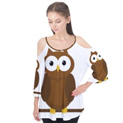 Cute transparent brown owl Flutter Tees