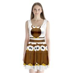 Cute transparent brown owl Split Back Mini Dress