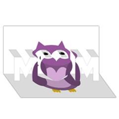Purple transparetn owl MOM 3D Greeting Card (8x4)